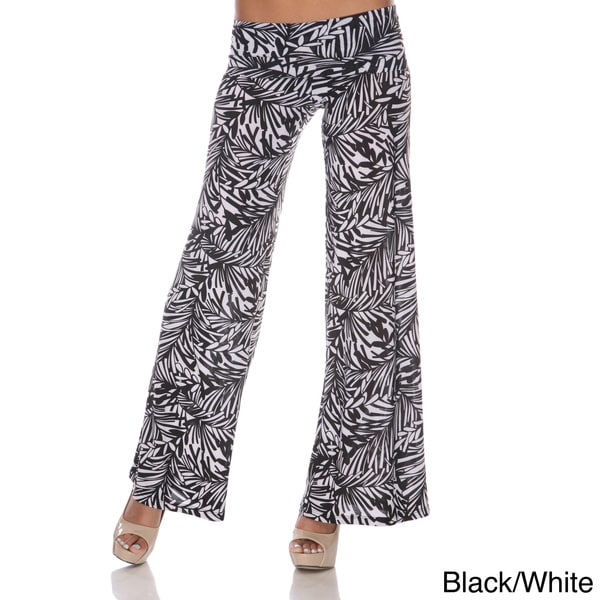 White Mark Women's Hype Print Wide Leg Pants