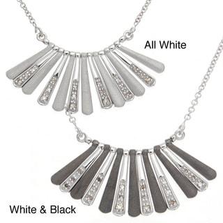 Sterling Silver Black or White Diamond Bib Necklace
