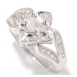 Sterling Silver 1/2ct TDW Vintage Inspired Floral Design Diamond Ring (H-I, I1-I2)
