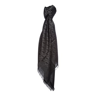 Fendi Jacquard Zucca Wool Blend Black/Silver Shawl