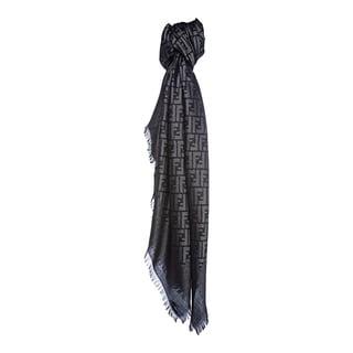 Fendi Jacquard Zucca Wool Blend Italian Navy/Silver Shawl