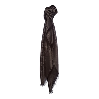 Fendi Jacquard Zucca Wool Blend Brown/Gold Shawl
