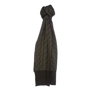 Fendi Zucca Print Wool Scarf in Hunter and Olive