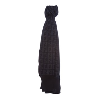 Fendi Zucca Print Wool Scarf in Navy and Blue
