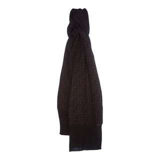 Fendi Zucca Print Wool Scarf in Black and Dark Brown