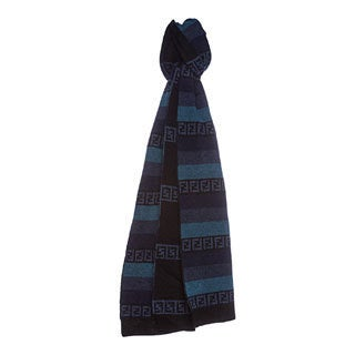 Fendi Striped Zucchino Blue Wool Blend Scarf