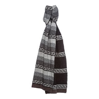 Gray-and-Brown Fendi Striped Zucchino Wool Blend Scarf