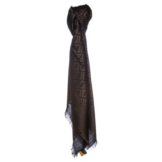 Fendi Jacquard Zucca Wool Blend Black/Gold Shawl