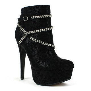 Fahrenheit Women's 'Janelle-06' Rhinestoned Cross-hatch Metallic Booties