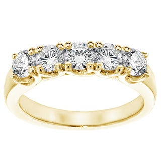 14K/18K Yellow Gold 1ct TDW Brilliant Cut Five Stone Diamond Band (F-G, SI1-SI2)
