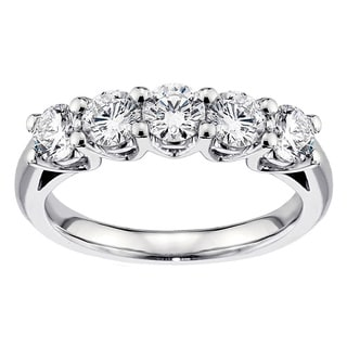 14K/18K White Gold or Platinum 1ct TDW Brilliant Cut V-Prong Diamond Wedding Band (F-G, SI1-SI2)