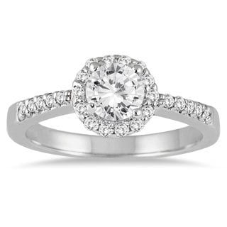 14K White Gold 3/4ct TDW Diamond Halo Engagement Ring (I-J,I2-I3)