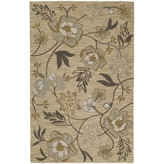Hand-tufted Lawrence Wheat Floral Wool Rug (7'6 x 9')