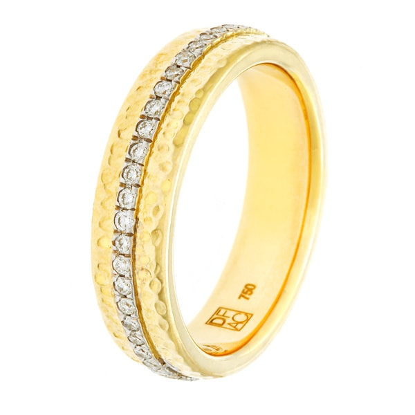 Diamonds For A Cure 18k Yellow Gold Hammered Ring (H-I, VVS1-VVS2)