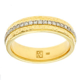 Diamonds For A Cure 18k Yellow Gold Hammered 2/5ct TDW Diamond Band (H-I, VVS1-VVS2)