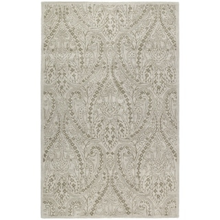 Hand-tufted Lawrence Beige Damask Wool Rug (5' x 7'9)