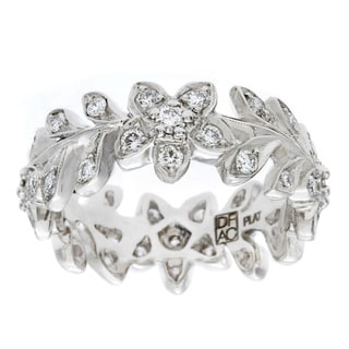 Diamonds For A Cure Platinum Handmade Floral Pave Diamond Band