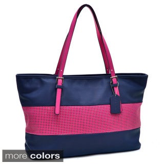 Dasein Two Tone Mesh Panel Tote Bag Handbag