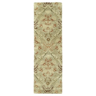 Hand-tufted Lawrence Khaki Green Damask Wool Rug (2'3 x 7'6)