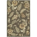 Hand-tufted Lawrence Mocha Floral Wool Rug (5' x 7'9)