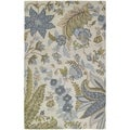 Hand-tufted Lawrence Sandy Blue Floral Wool Rug (5' x 7'9)