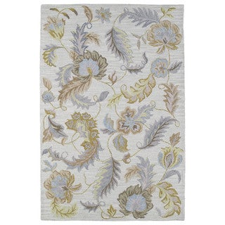 Hand-tufted Lawrence Oatmeal Floral Wool Rug (5' x 7'9)