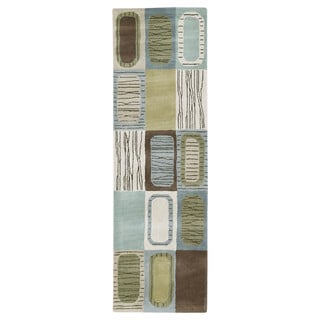 Hand-tufted Lawrence Blue Dimensions Wool Rug (2'3 x 7'6)
