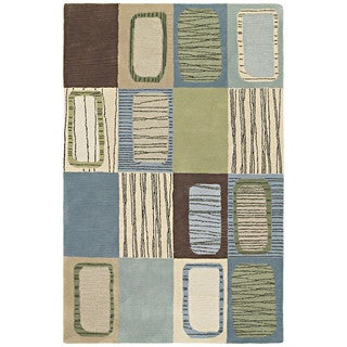 Hand-tufted Lawrence Blue Dimensions Wool Rug (9'6 x 13')
