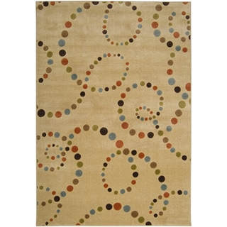 Meticulously Woven Brown Abstract Contemporary Rug (1'8 x 2'6 )