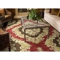 Lawrence Red Damask Hand-tufted Wool Rug (8' x 11')