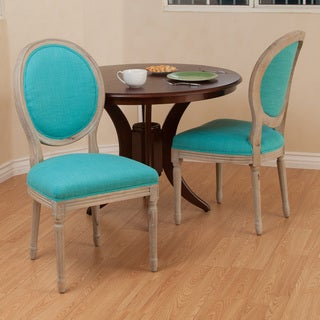 Christopher Knight Home Queen Anne Teal Fabric Dining Chairs (Set of 2)