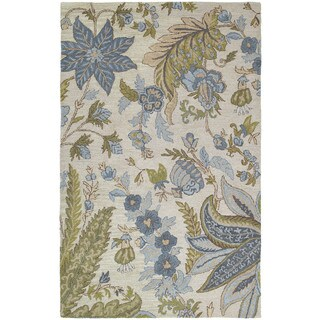 Lawrence Sandy Blue Floral Hand-tufted Wool Rug (2' x 3')