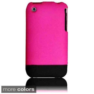 INSTEN Hot Pink/ Black Rubberized Hard Plastic Snap-on Phone Case Cover for Apple iPhone 3G/ 3GS