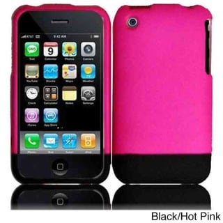 BasAcc Hot Pink/ Black Rubberized Hard Snap-on Phone Case Cover for Apple iPhone 3G/ 3GS