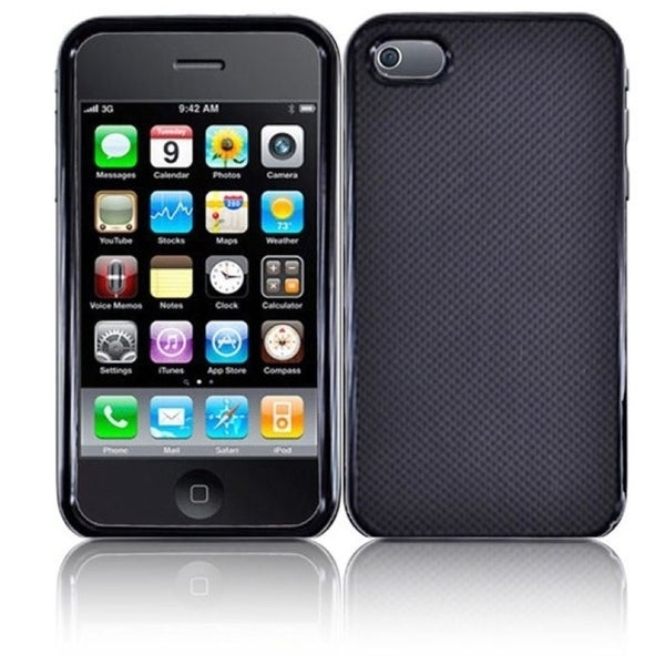 INSTEN Black Dots Rubberized Hard Plastic Leather Phone Case Cover for Apple iPhone 4/ 4S