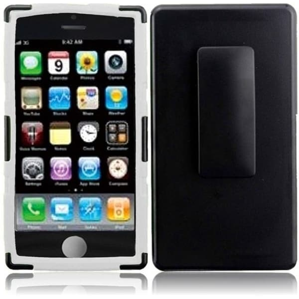 INSTEN Black/ White Dual Layer Hybrid PC/ Soft Silicone Holster with Stand Phone Case Cover for Apple iPhone 5C/ 5S