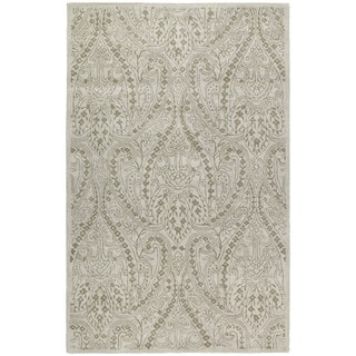Lawrence Beige Damask Hand-tufted Wool Rug (8' x 11')