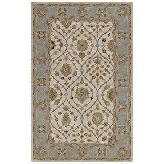 Lawrence Beige Arabesque Hand-tufted Wool Rug (3' x 5')