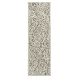 Lawrence Beige Damask Hand-tufted Wool Rug (2'3 x 7'6)