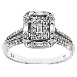 Cambridge 10k White Gold 1/2ct TDW Emerald Diamond Ring