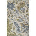 Lawrence Sandy Blue Floral Hand-tufted Wool Rug (8' x 11')