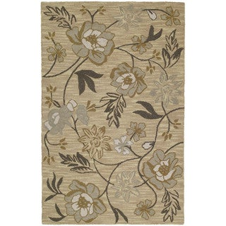 Lawrence Wheat Floral Hand-tufted Wool Rug (9'6 x 13')