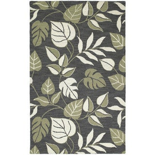 Lawrence Dark Grey Floral Hand-tufted Wool Rug (9'6 x 13')