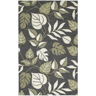 Lawrence Dark Grey Floral Hand-tufted Wool Rug (9'6 x 13')