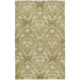 Lawrence Khaki Green Damask Hand-tufted Wool Rug (2' x 3')