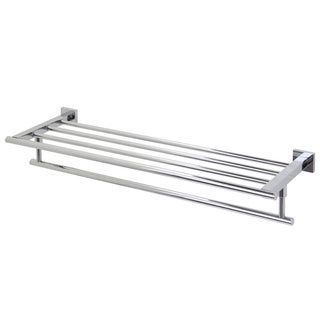 VIGO Allure 24-inch Square Design Hotel Style Rack and Towel Bar in Chrome