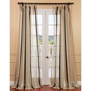 Natural Linen Blend Stripe Sheer Curtain Panel