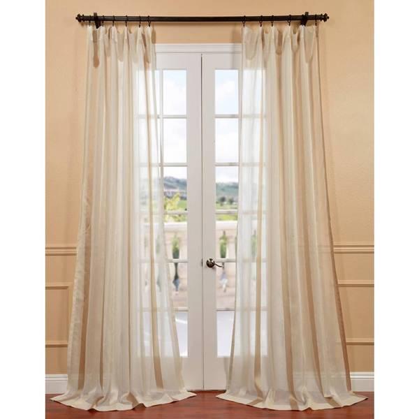 Carlton Creme Linen Blend Stripe Sheer Curtain Panel