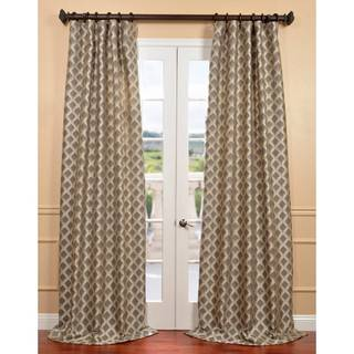 Davin Grey Faux Silk Jacquard Curtain Panel