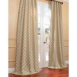 Davin Neutral Faux Silk Jacquard Curtain Panel